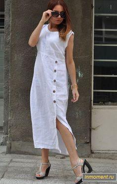 White Party dress for women White party outfits for women White Linen Dress Long Dress Linen Dress Summer Dress for Women mode White Linen Dresses, White Dresses For Women, Trendy Dresses, Nice Dresses, Casual Dresses, Fashion Dresses, Fashion Clothes, White Women, Stylish Clothes