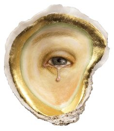 Tabitha Vevers, Pearlmaker II, 2005. Oil and gold leaf on oyster shell