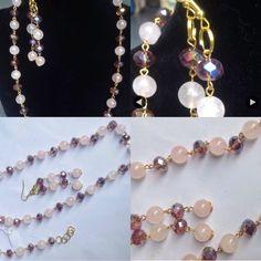 #parure in #ottone con #quarzo #rosa e #cristallo #bordeaux.  #necklace with #bracelet and #earrings in #pink #quartz and #red #crystal. #handmade.  #collar con #pulsera y #pendientes en #cuarzo #rosa y #cristal #burdos. #hechosamanos. www.oro18.eu info@oro18.eu