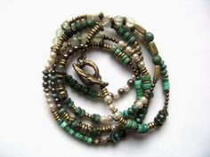 Multistrand Wrap Bracelet Necklace with Emerald, Jade, Chalcedony, Prehnite, Turquoise and Antiqued & Vintage  Brass Beads. $124.00, via Etsy.