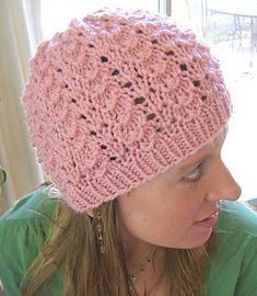 """Light Pink hat in Lion Brand """"Vanna's Choice."""" Featured in a Lion Brand Yarn Facebook post on 10/1/13: """"October is Breast Cancer Awareness Month! This Pinky's Wings Beanie designed by Kathy North with our Vanna's Choice yarn would make a great chemo cap."""""""