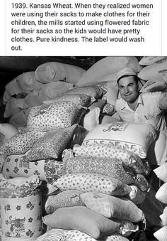 The Great Depression Era Flour Feed sacks Dresses was designed to tell the unique history of where the beautifully patterned material came from that was Sweet Stories, Cute Stories, Weird Facts, Fun Facts, Random Facts, Movie Facts, Random Stuff, Funny Stuff, Human Kindness