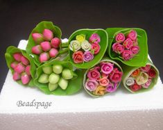 Miniature Flowers Roses Lotus Sweet Bouquet - Playscale for 1/8 scale ~ 1/6 Scale Dolls blythe barbie BJD DAL Fashion Royalty
