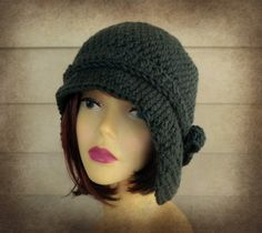 Hats Flapper Hat  Charcoal Gray Vintage by knottycreationsbyET, $40.00