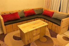 Here is presented an idea to fulfill the seating need of TV launch, you can also copy this idea of creating repurposed wood pallet couch for outdoor if there much space to place this L-shaped couch. The cushion color combination is looking awesome with the fabric color selected for the seating foam.