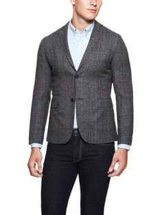 Draper Unconstructed Moss Check Blazer in Grey by J Lindeberg