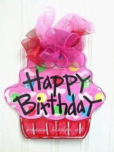 Happy Birthday Pink and Red Cupcake Door Hanger - Bronwyn Hanahan Original