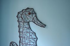 Metal Wire Seahorse  Dark Brown by ByTheSeashoreDecor on Etsy