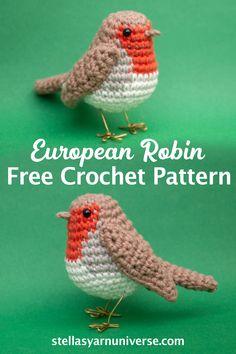 Crochet Bird Patterns, Crochet Birds, Crochet Amigurumi Free Patterns, Christmas Crochet Patterns, Cute Crochet, Crochet Animals, Crochet Patterns For Beginners, Crochet Bear, Crochet Flowers