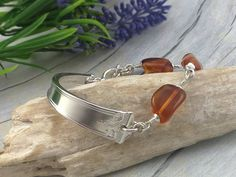 BALTIC AMBER Bangle / Cuff Bracelet. Baltic Amber Stone with Upcycled Sterling Silver. Spoon Bracelets for Women. Spoon Bracelet, Silver Cleaning Cloth, Silverware Jewelry, Promise Rings For Her, Unique Bracelets, Amber Stone, Baltic Amber, Beautiful Rings, Bangles