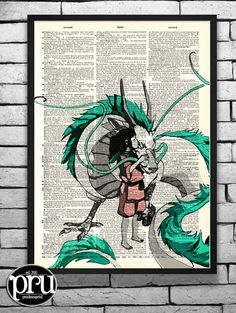 Chihiro and Haku in Love Ghibli Tribute Print on an Unframed Upcycled Bookpage