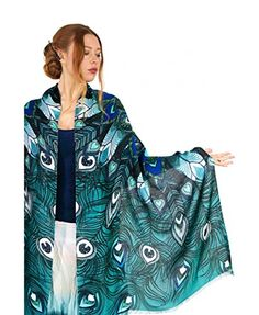 bbb552964b469 Aqua Peacock Scarf 100 Cotton hand painted Blue Winged Feather Wedding Shawl  >>> Click
