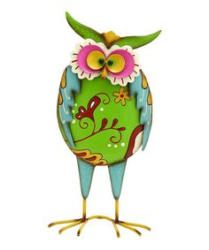 Loving this Green  Blue Owl Stand on #zulily! #zulilyfinds