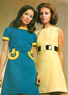 60s mod fashion. The yellow one is awesome