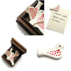 White clay birds with red polka dots wedding favors magnets Wedding Favours Magnets, Wedding Favors, Wedding Ideas, 50th Anniversary Favors, Clay Birds, Wedding Ornament, Salt Dough, White Clay, Clay Jewelry