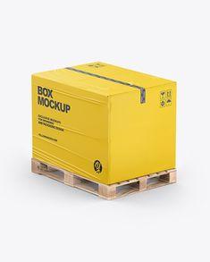 Pallet W/ Paper Box Mockup Box Branding, Packaging Design, Cardboard Cartons, Box Mockup, Duct Tape, Creative Words, Pallet, Transportation, Layers