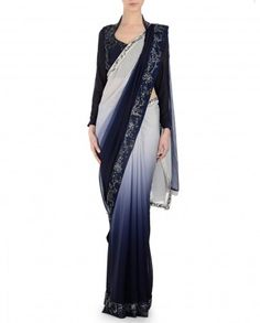 Ombre Navy and Powder Blue Sari with Embellished Border