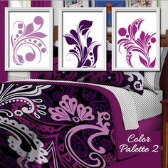 Colorful Bold Swirl Flourish Design Shades of Purple Artwork Set of 3 Trio Prints Bedroom Wall Decor Art Pictures