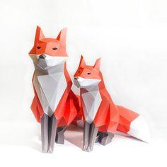 Red Fox Printable Digital Template DIY Papertoy Model von MOOKEEP