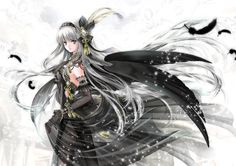 Angel with long silver hair, blue eyes, black feather wings, & gothic dress by manga artist Shiitake.