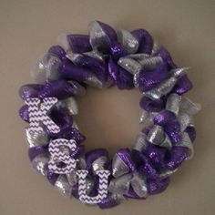 Large K STATE / Kansas State University Wreath  Purple Silver and White with KSU polka dot letters on Etsy, $48.00