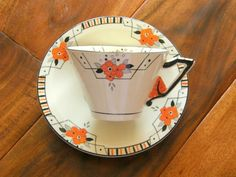 Rare Burleigh Ware Set of 4 Art Deco by SusabellaBrownstein English Pottery, China Cups And Saucers, Geometric Lines, Art Deco Design, Vintage China, Tea Set, Cup And Saucer, Tea Time, Tea Party