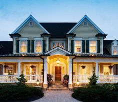 Love the front porch and french doors!