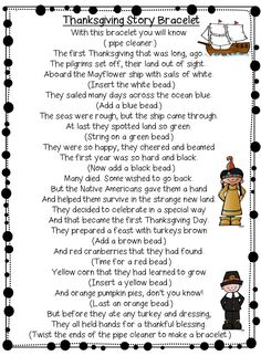 thanksgiving+story+bracelet+poem.png 1,127×1,538 pixels