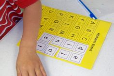 Alphabet Card for upper and lower case matching.  (LOTS of other great ideas here.)