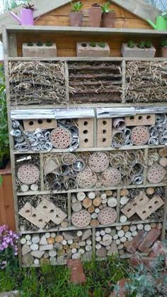 Make an insect hotel, from the article Insect Hotels - Encourage Beneficial Insects Into Your Garden. Garden Crafts, Garden Projects, Garden Art, Garden Design, Bug Hotel, Garden Bugs, Edible Garden, Permaculture, Farm Gardens