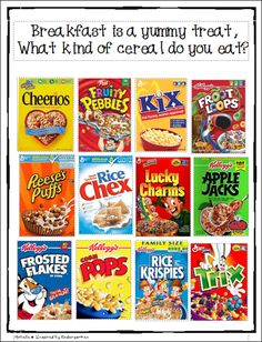 cereal book and tally chart - make a classroom book of environmental print Early Literacy, Preschool Classroom, Kindergarten Worksheets, Literacy Activities, In Kindergarten, Classroom Ideas, Preschool Printables, Alphabet Activities, Preschool Learning