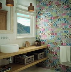 Metro Patchwork are beveled wall tiles that are ceramic. Bold, multicolored wall tiles with colorful patterns. Metro White, Ideas Baños, Patchwork Tiles, Metro Tiles, Ceramic Wall Tiles, White Decor, Bathroom Accessories, House Design, Retro