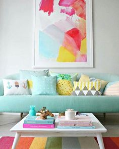 home decor and living room. cheerful colors.