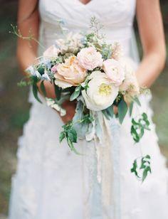 Whimsical Blush, Ivory and Blue Bridal Bouquet | Mum's Flowers: Whitefish, Montana