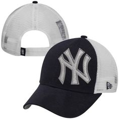 89d531296a2 New Era New York Yankees Ladies Sequin Shimmer 9FORTY Adjustable Hat - Navy  Blue White