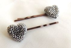Vintage Style Antiqued Silver Rhinestone Heart Bobby pins - a pair, Pave, Copper tone, Wedding, Bridal Bridesmaids Hair Accessories, Heart Hair pins, Heart Hair clips, perfect for all occasions! #ValentinesDayGift