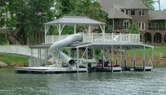 Here's a cool boat dock with a tunnel slide.