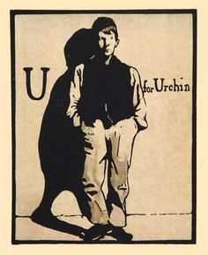 U for Urchin by William Nicholson 1898 Lithograph Alphabet Print Woodblock Print 1975 Poster Print Home Decor Print Fine Art Print William Nicholson, Alphabet Print, Alphabet Letters, Wood Engraving, Antique Prints, Artist Art, All Art, Poster Prints, Art Posters