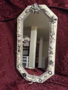 Rhinestone Wall Mirror jeweled oval mirror handcrafted rhinestones repurposed vintage