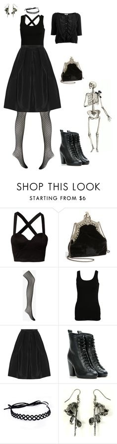 """""""Outfit #45"""" by electronic-lullaby ❤ liked on Polyvore featuring Mimi Blix For Nelly, House of Harlow 1960, Forever 21, VILA, TIBI, rag & bone, OBEY Clothing and Moschino Cheap & Chic"""