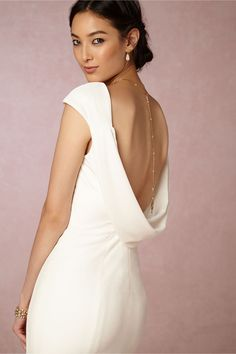 BHLDN Ingrid Velvet Gown in Bride Wedding Dresses at BHLDN- not a huge fan of these sleeves, but the back and the fishtail train (or whatever it's called) is cool. Bridal Gowns, Wedding Gowns, Theia Bridal, Wedding Wear, Purple Wedding, Dream Wedding, Cowl Back Wedding Dress, Velvet Gown, Affordable Wedding Dresses
