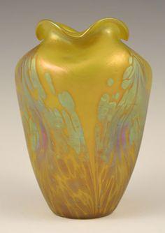 Loetz Art Nouveau Iridescent Yellow Medici Décor Glass Vase - Austria   c.1902