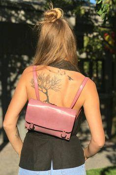Leather backpack girls backpack purse wood leather bag back