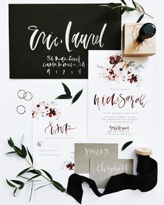 Fall wedding season is far away but if you are planning a wedding, then your preparations are in full swing now. Wedding Invitation Suite, Wedding Stationary, Invitation Design, Wedding Suite, Watercolor Hand Lettering, Watercolor Invitations, Bar Card, Wedding Calligraphy, Calligraphy Set