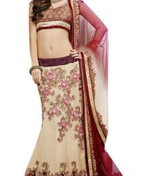 Get stylish beige lehenga at Mirraw