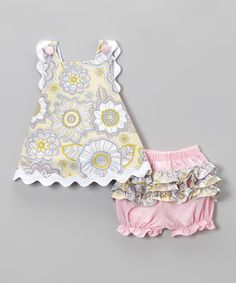 Look what I found on #zulily! Yellow  Gray Floral Bloomer Set - Infant  Toddler #zulilyfinds