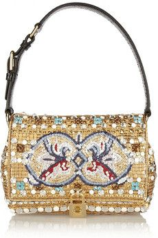 Dolce & Gabbana Dolce medium ayers-trimmed embellished shoulder bag | NET-A-PORTER