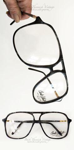 82d761d96f0 True vintage 70 s oversized aviator eyeglass frames in black marble.  Designer Carlos Alberto. 70s