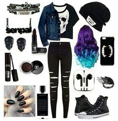 Emo clothes You are in the right place about tomboy outfits cute Here we offer you the most beautifu Tomboy Outfits, Cute Emo Outfits, Pastel Goth Outfits, Scene Outfits, Teenage Outfits, Punk Outfits, Teen Fashion Outfits, Gothic Outfits, Grunge Outfits