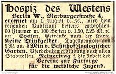 Original-Werbung/ Anzeige 1898 - HOSPIZ DES WESTENS - BERLIN - ca. 45 x 30 mm